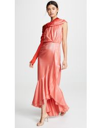 38a51bb370694 Michelle Mason One Shoulder Gown With Tie in Orange - Lyst