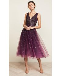 Marchesa notte - Plunge Neck Foil Dress - Lyst