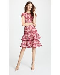 Marchesa notte - Cap Sleeve Cocktail Dress - Lyst