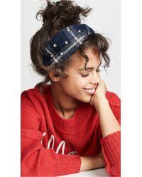 NAMJOSH - Blue Plaid Headband - Lyst