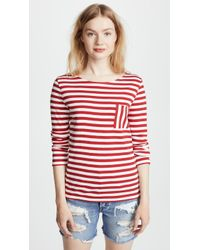 Petit Bateau | Iconic 1x1 Striped Tee With Pocket | Lyst
