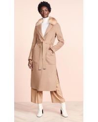 SOIA & KYO - Ivonne Double Face Car Coat With Removable Fur - Lyst