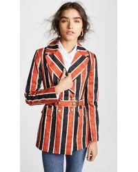 Stella Jean - Belted Striped Cotton-blend Blazer - Lyst