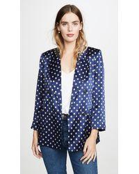 L'Agence Taryn Print Silk Satin Double Breasted Blazer - Blue