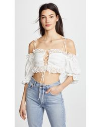 For Love & Lemons | Anabelle Eyelet Crop Top | Lyst