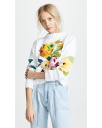 Smythe - Floral Intarsia Crew Sweater - Lyst