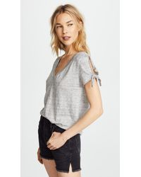 Chaser - Tie Sleeve Tee With Deep V Neck - Lyst