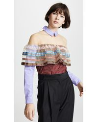 Tata Naka - Shirt With Net Inserts And Frill - Lyst
