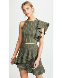 C/meo Collective - Entice High Neck Cropped One Sleeve Ruffle Detail Top - Lyst