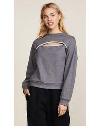 T By Alexander Wang - Slit Front Long Sleeve Sweatshirt - Lyst
