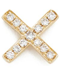 EF Collection - Diamond X Single Stud Earring - Lyst