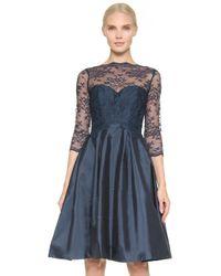 Monique Lhuillier Bridesmaids - Lace Bodice V Back Dress - Lyst