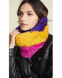 Adrienne Landau - Tri-tone Knit Fur Cowls Scarf - Lyst