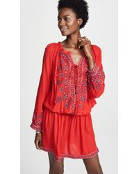 Melissa Odabash - Nadja Embroidered Voile Mini Dress Red Small - Lyst