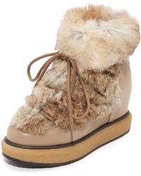 Paloma Barceló - Kansas Fur Wedge Booties - Lyst