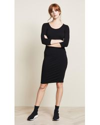 James Perse - 3/4 Sleeve Fitted Dress - Lyst