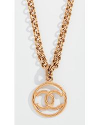 What Goes Around Comes Around - Chanel Cc On Round Necklace - Lyst