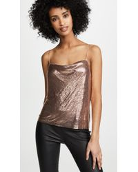225727dc0e8 TOPSHOP Chainmail Long Sleeve Top With Lettuce Hem in Metallic - Lyst