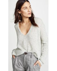 Free People - Gossamer V-neck Top (grey) Women's Clothing - Lyst