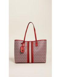 eaf22bea3 Tory Burch Pink Gemini Link Stripe Canvas Tote Bag in Pink - Lyst