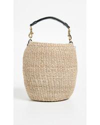ee8a0ec714 Clare V. Henri Small Leather-trimmed Velvet Bucket Bag in Blue - Lyst