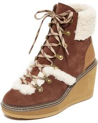 See By Chloé - Eileen Wedge Shearling Booties - Lyst