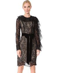 Monique Lhuillier - Dress With Ruffle Sleeves - Lyst