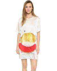 Anna K - Girl Eating Watermelon Printed Silk Dress - Lyst