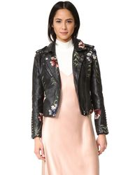 Blank - Embroidered Moto Jacket - Lyst