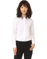 Holly Fulton - Long Sleeve Shirt With Embroidered Collar - Lyst