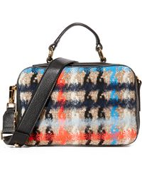 MILLY - Pied De Poule Tweed Satchel Bag - Lyst