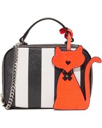 MILLY - Stripe Saffiano Mini Satchel - Lyst