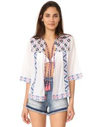 OndadeMar - Embroidered Open Tunic - Lyst