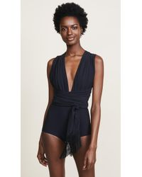 Michael Kors - Shirred Wrap Belted One Piece - Lyst