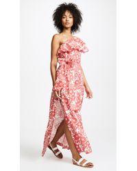 Lisa Marie Fernandez - Arden Tomato Floral Linen Flounce Dress - Lyst