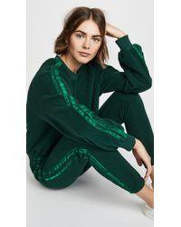 Pam & Gela - Cropped Sweatshirt With Velvet Stripes In Green - Lyst
