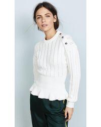 Jason Wu - Long Sleeve Peplum Sweater - Lyst