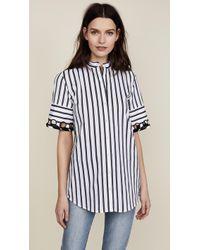 Victoria, Victoria Beckham - Laced Sleeve Shirt - Lyst