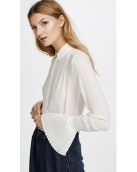 FRAME - Pintucked Long Sleeve Blouse - Lyst