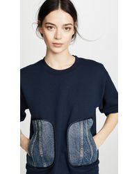 Harvey Faircloth - Sweatshirt With Denim Pockets - Lyst