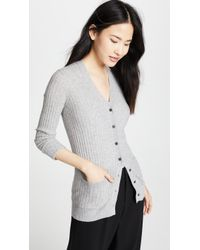 Vince - Ribbed Skinny Cashmere Cardigan - Lyst