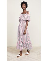 MDS Stripes - Rebecca Ruffle Dress - Lyst