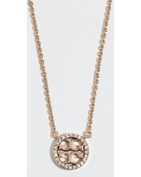 Tory Burch - Crystal Logo Delicate Necklace - Lyst