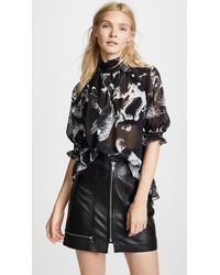 Adam Lippes - Mock Neck Blouse With Smocked Sleeves - Lyst