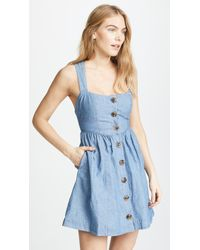 Free People - Carolina Chambray Mini Dress - Lyst
