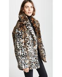 Pam & Gela - Leopard Faux Fur Coat - Lyst