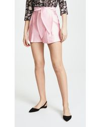 Cynthia Rowley - Phoebe Pleated Silk Wool Shorts - Lyst