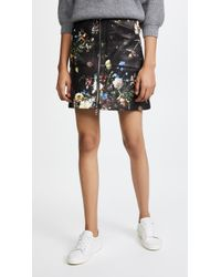 Adam Lippes - Printed Leather Skirt - Lyst
