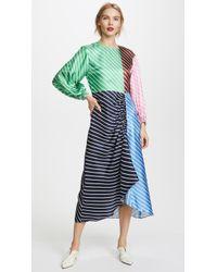 Tibi - Delphina Stripe Shirred Long Dress - Lyst