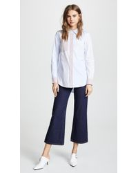 d1dec851582dc7 Veronica Beard Grant Off The Shoulder Ruffle Shirt in Blue - Lyst